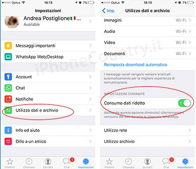 Consumo ridotto WhatsApp
