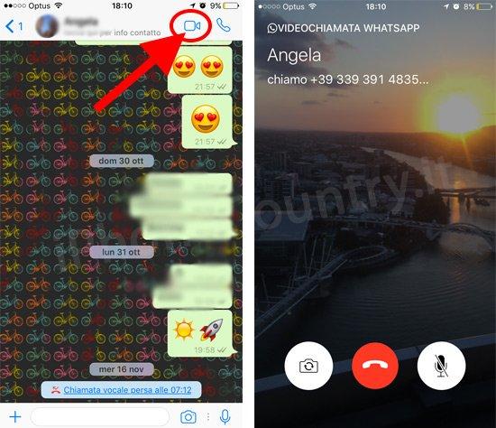 Videochiamata su WhatsApp