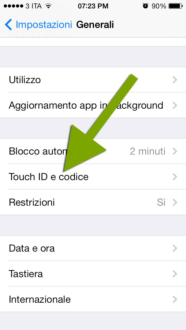 impostazioni touch id iphone 5s