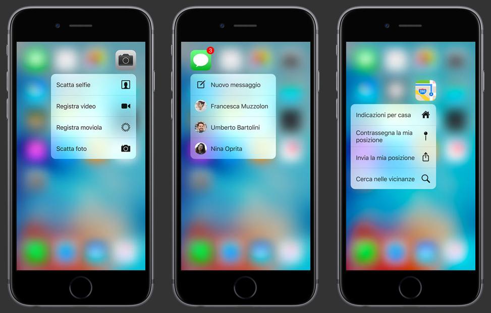 Azioni rapidi di iPhone 6S