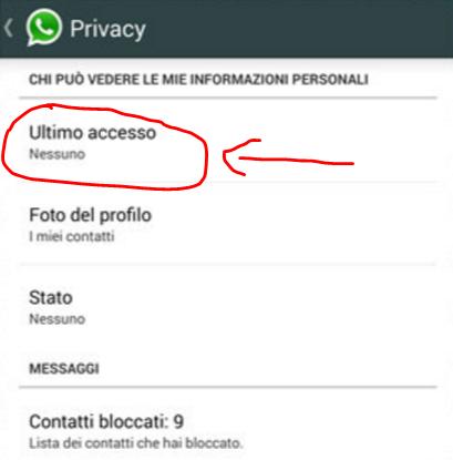 Disattivare ultimo accesso Android