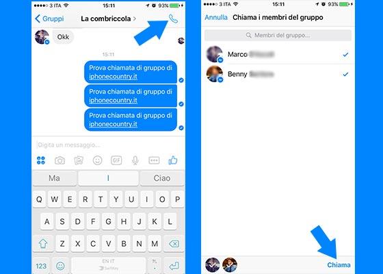 Effettuare chiamata di gruppo di Facebook Messenger