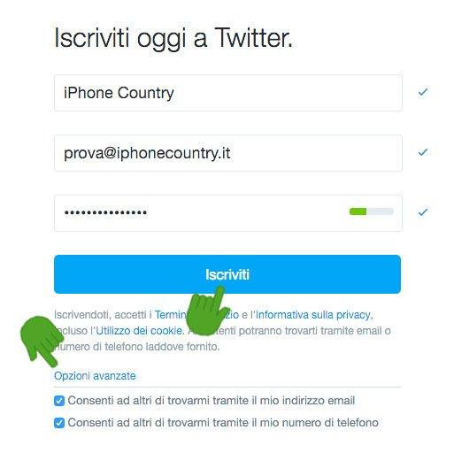 Iscrizione Twitter passaggio User