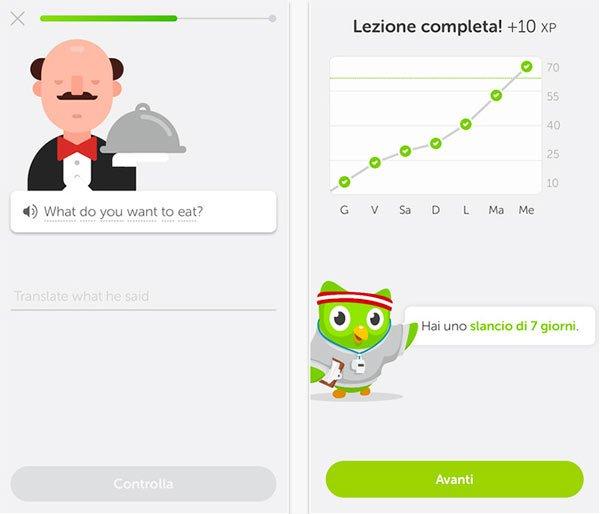 Duolingo app per iPhone