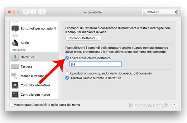 Abilita dettatura Mac