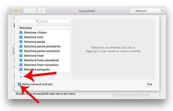 Aggiungi nuova dettatura Mac