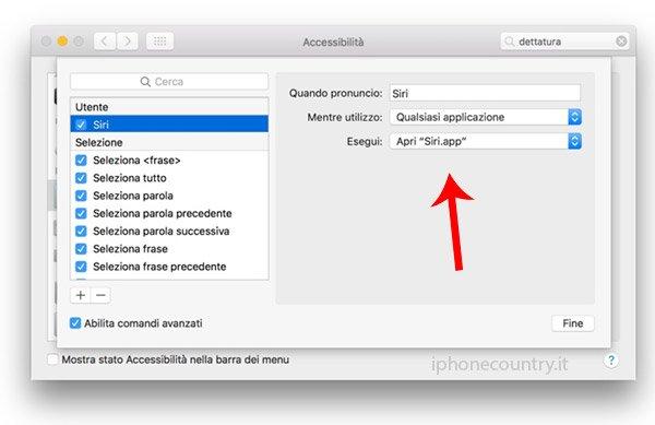 Configurazione dettatura Mac