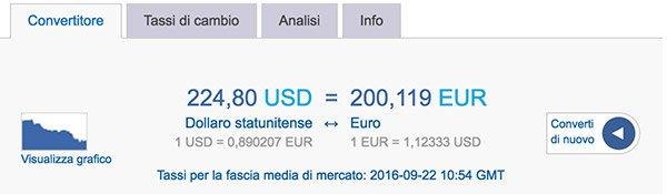 Cambio dollaro usa euro