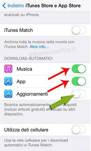 Disattivare download automatici di iOS