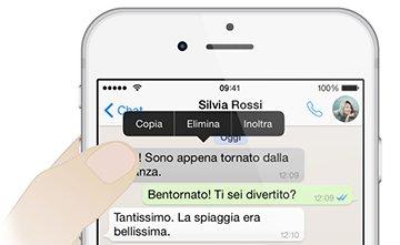 Eliminare messaggio WhatsApp