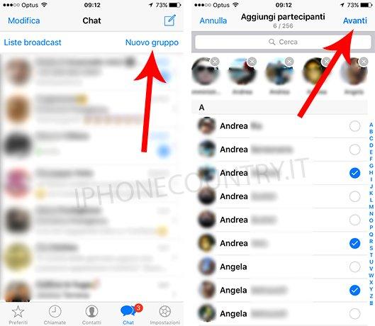 Crea gruppo su WhatsApp