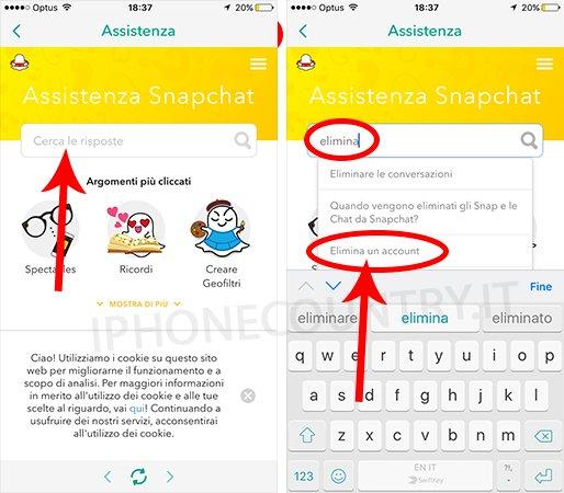 Eliminare account di Snapchat