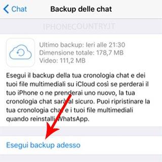 Esegui backup WhatsApp adesso