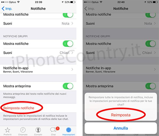 Reimposta notifiche WhatsApp