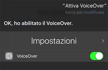 Attivare VoiceOver