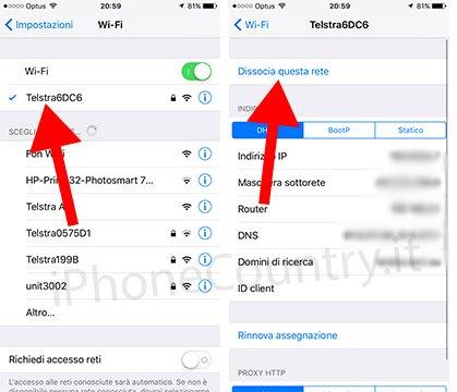 Dissocia WiFi iPhone