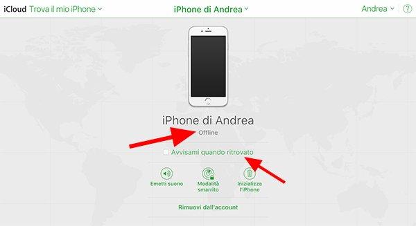 iPhone offline su iCloud