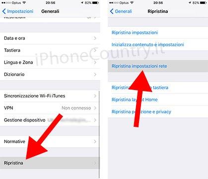 Ripristina connessioni di rete iPhone