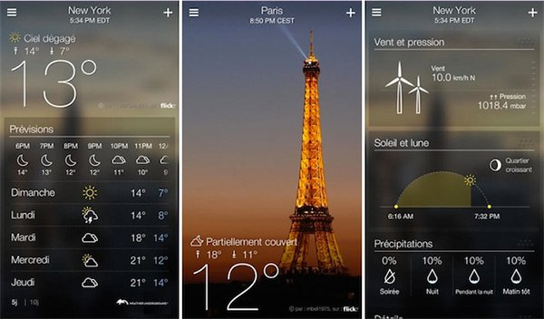 Yahoo Meteo App iPhone