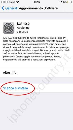 Aggiornamento OTA iOS 10.2