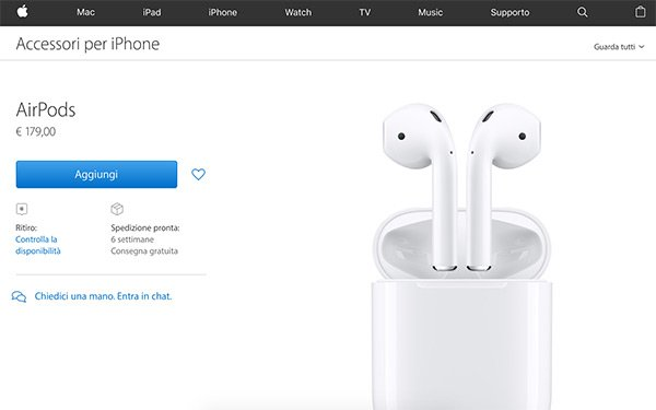Airpods su Apple Store Online