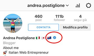 Badge Verifica Account Instagram