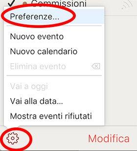 Impostazioni calendario iCloud