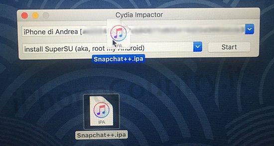 Installa app da Cydia Impactor
