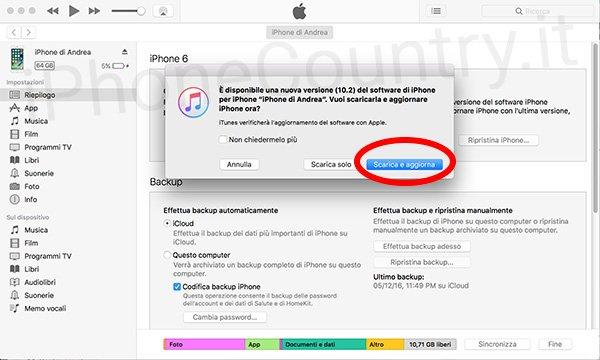 Installare iOS 10.2 da iTunes