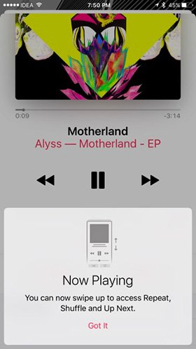 Now Playing Musica iOS