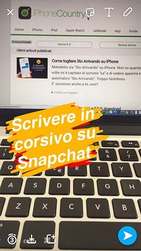 Scritta corsivo su Snapchat iPhone