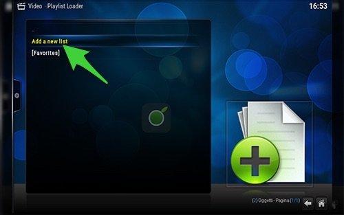 Aggiungere nuova lista m3u da Playlist Loader