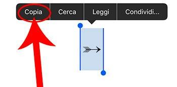 Copiare simbolo freccia su iOS