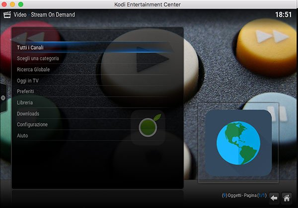 Menu di Stream On Demand di Kodi