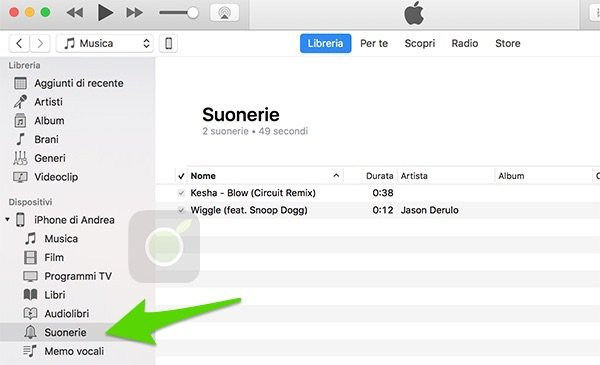 Menu suonerie su iTunes