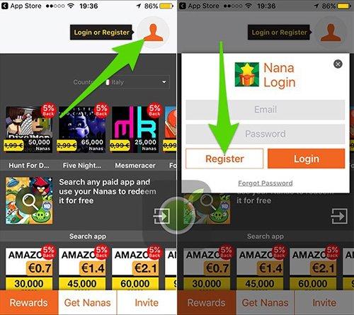 Registrazione su Nana App