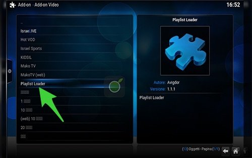 Playlist Loader su Kodi