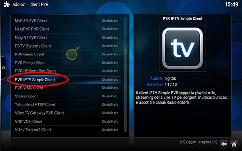 PVR IPTV Simple Client di Kodi