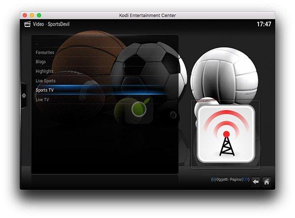 Sezioni Sportdevil su Kodi