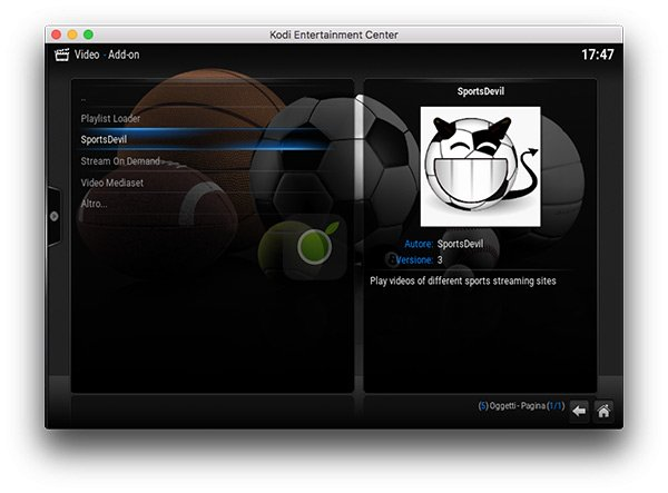 SportsDevil nel menu di Kodi