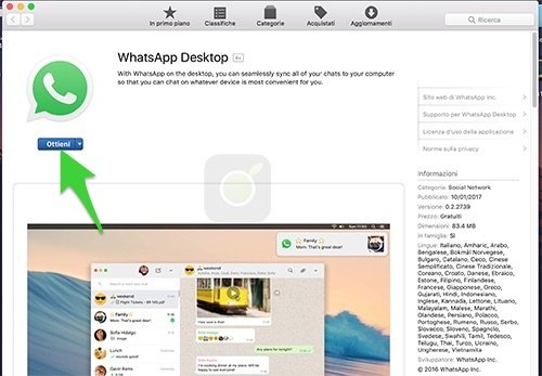 Ottieni WhatsApp Desktop Mac