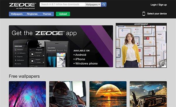Zedge per scaricare sfondi gratis
