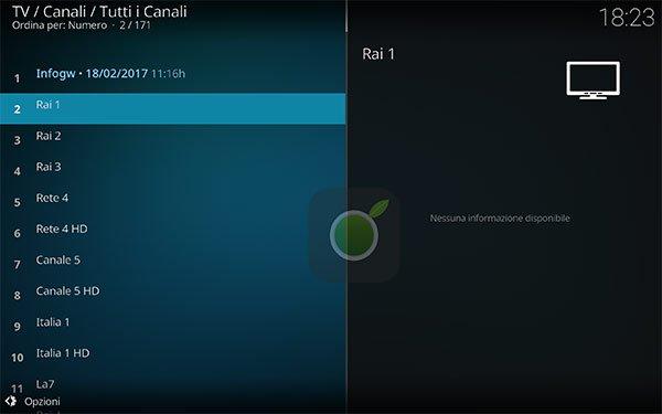 Canali IPTV su Kodi