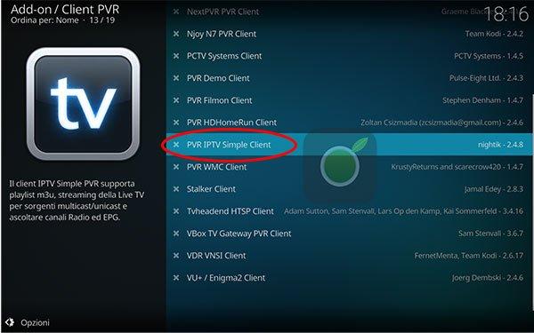 PVR IPTV Client per Kodi
