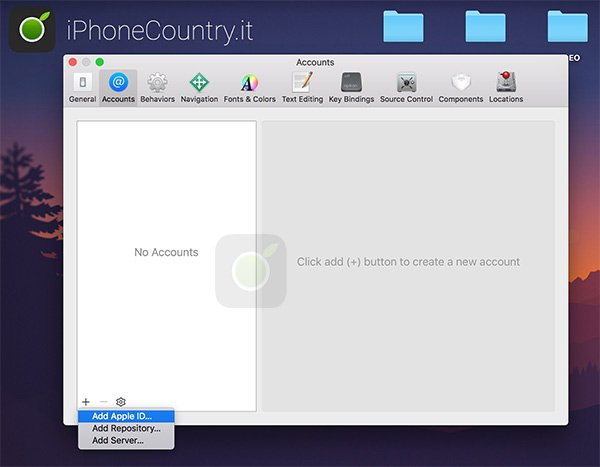 Aggiungi ID Apple su Xcode