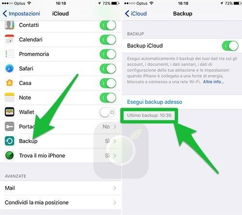 Backup recente su iOS