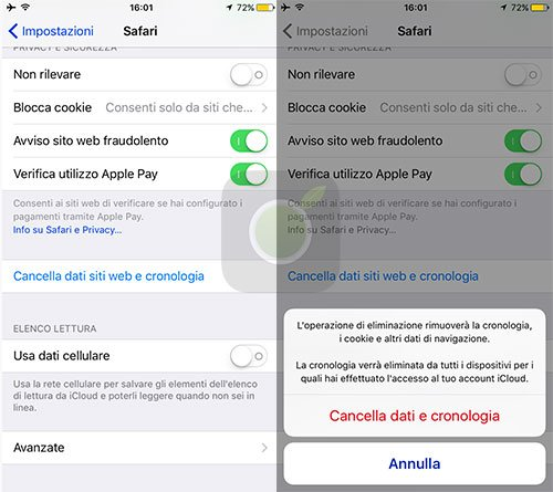 Cancella dati Safari su iOS