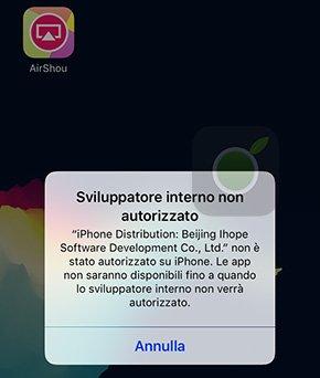 Errore sviluppatore non autorizzato su iOS