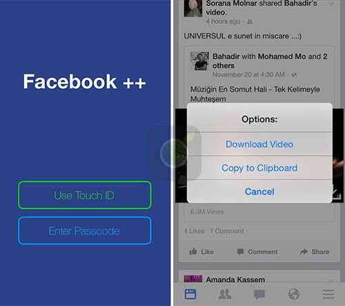 Facebook Plus Plus screen