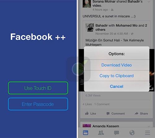 Facebook Plus Plus screen